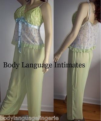 Lime print chiffon pajama set plus size lingerie 1x2x3x|  $29.00