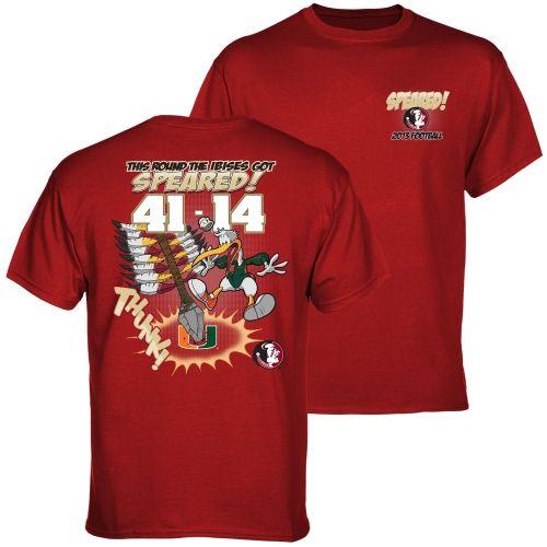 COLLEGE Florida State Seminoles (FSU) vs. Miami Hurricanes 2013 Score Speared T-Shirt