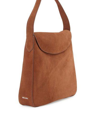 Prada Suede Doubled Flap-Top Medium Hobo Bag, Brown (Cacao ...