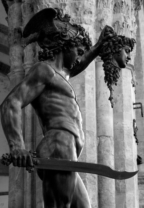 Perseus and Medusa, by Cellini, Florence, Italy by Randy Loggia dei Lanzi, Perseus and Medusa, Benvenuto Cellini bronze, 18 feet high, 1545-54