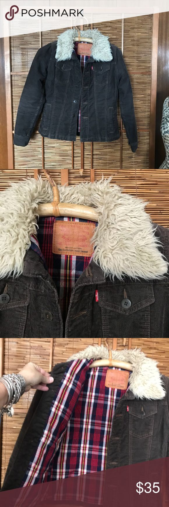 Levis corduroy lined  jean jacket -Stranger Things Cool Levi's brown corduroy button up trucker jacket lined in quilted flannel and faux fur collar.  Size M.  In great condition. This jacket reminds me of the kids in Stranger Things! They were all wearing jackets like this! Levi's Jackets & Coats Jean Jackets
