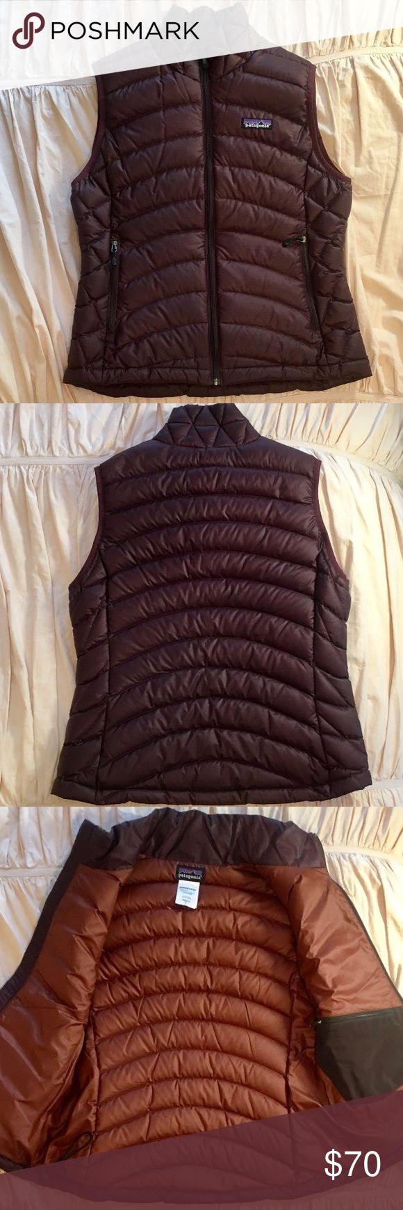 Patagonia Down Sweater Vest Pretty, rich brown color on this warm and light-weight Patagonia vest. Excellent condition- no noticeable signs of wear. Two zipper pockets in front, one zipper pocket on inside, and elastic drawstring around waist. 100% polyester and 85% goosedown filling.  I accept most reasonable offers. Patagonia Jackets & Coats Vests