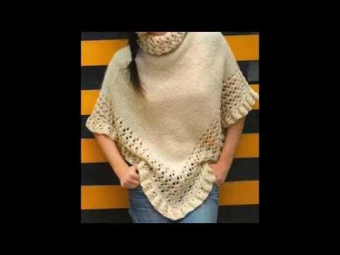 Como tejer un poncho a Crochet paso a paso TUTORIAL - YouTube
