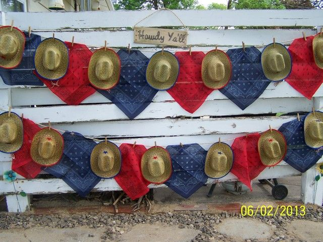 Hats and bandanas at a Cowgirl Party #cowgirl #party