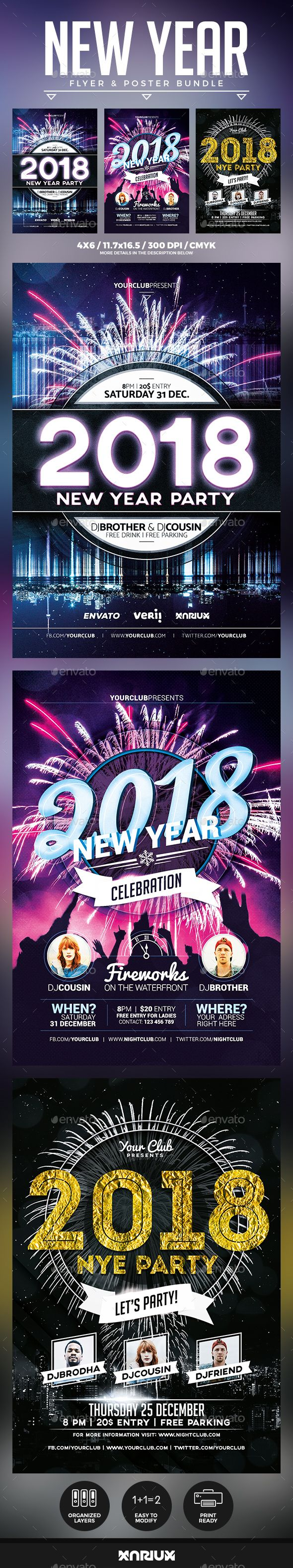 New Year 2018 Flyer and Poster Template PSD Bundle #nye #design
