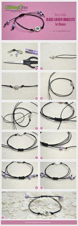 double closure black leather bracelets
