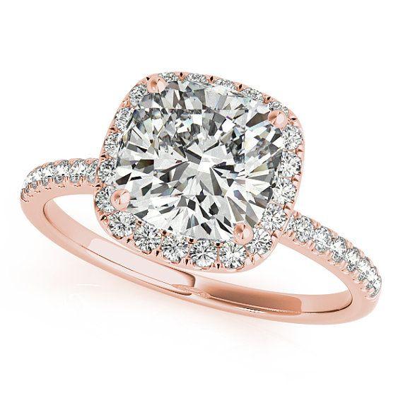 Halo Engagement Ring Diamond Engagement Ring Cushion by cldiamonds