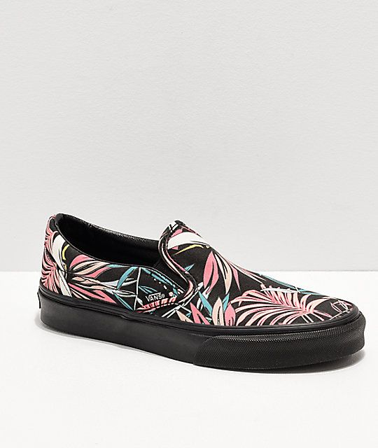 45eb5629c2 Vans Slip-On California Floral Black Skate Shoes