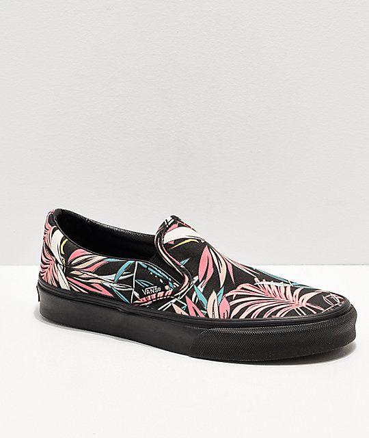 026642ea255676 Vans Slip-On California Floral Black Skate Shoes Floral Vans