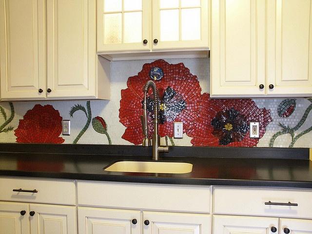 """Poppy mosaic Backsplash by Lori Desormeaux - all I can say is """"Wow!"""""""