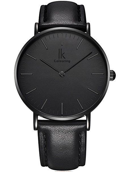 Alienwork IK Quarz Armbanduhr elegant Quarzuhr Uhr modisch Zeitloses Design klassisch silber schwarz Leder 98469G-03