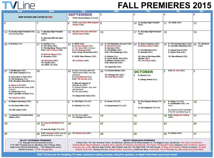 TV Calendar 2015 Fall Premieres