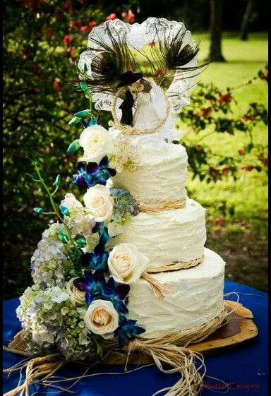 Cake.. Cake topper from Hobby Lobby flowers are real ...