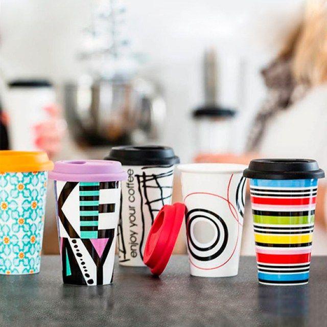 Kolorowy ceramiczny kubek termiczny - Trafiony prezent