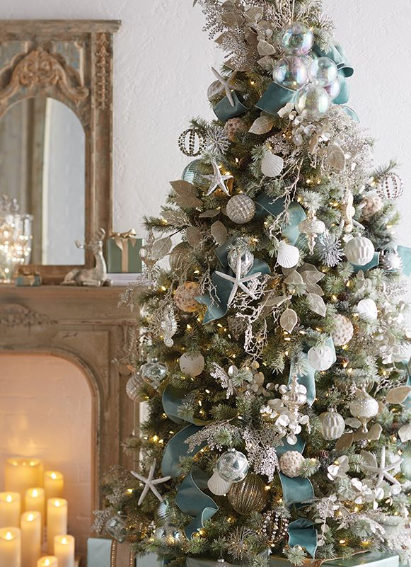 Silver Sands Christmas Tree By Raz Imports Blue Christmas Decor Coastal Christmas Tree Christmas Tree Design