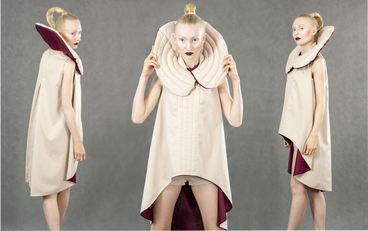 Diploma Project by Aleksandra Sadura 2014 fashion | form | quilting | beige | tunic | collar