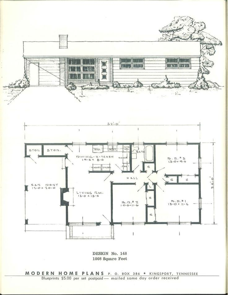 Modern home plans 1955 vintage house plans 1950s Century home builders
