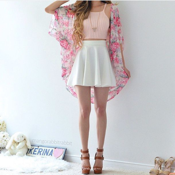 Crop top cute fashion girly hey outfit pink sup wedges skate skirt | FLORAL | Pinterest ...