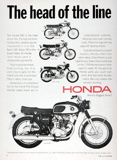 1967 Honda 450 Motorcycle Classic Vintage Print Ad