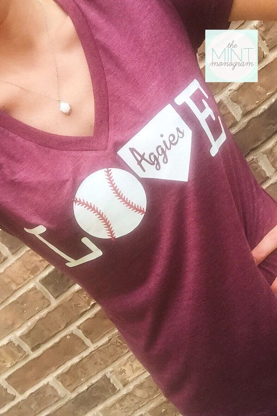 Aggies+Maroon+and+White+Baseball+Love+V+Neck+by+TheMintMonogram