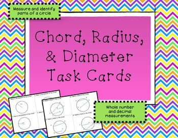 Use these 20 task cards to help students review finding the radius, diameter, and chords of a circle!  These task cards work on both measuring and identifying parts of a circle. (scheduled via http://www.tailwindapp.com?utm_source=pinterest&utm_medium=twpin&utm_content=post178969709&utm_campaign=scheduler_attribution)