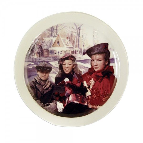 Celebrate Road to Avonlea this holiday season with this classic Christmas plate. Imprinted with a charming image of the town's children, this decorative plate will add some Christmas cheer to any place setting.