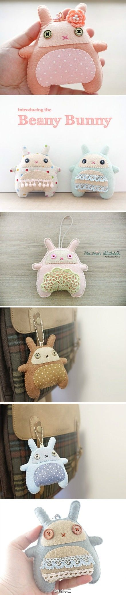 胖兔子钥匙挂坠——来自柚柚手工 (Fat rabbit key pendants - handmade from Youyou)