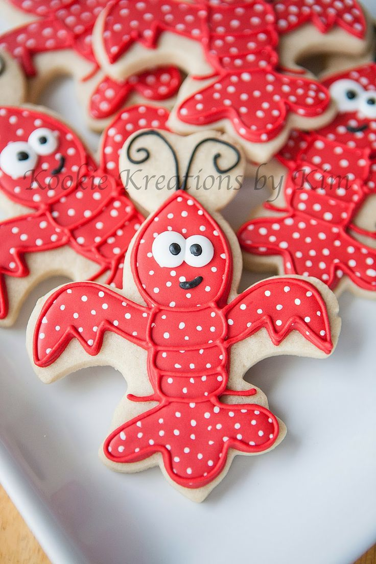Fleur de lis crawfish cookies - Kookie Kreations by Kim