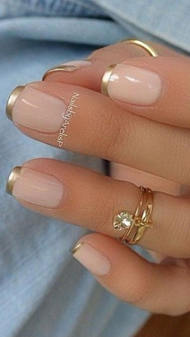 Pink and Gold French Manicure Design #nails #nailart