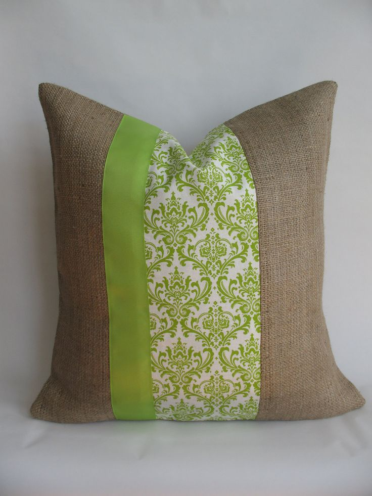 Burlap Pillow Cover with Green and White Damask Fabric and Green Grosgrain Ribbon. $21.00 & 76 best Pillows!! images on Pinterest   Green throws Throw pillow ... pillowsntoast.com