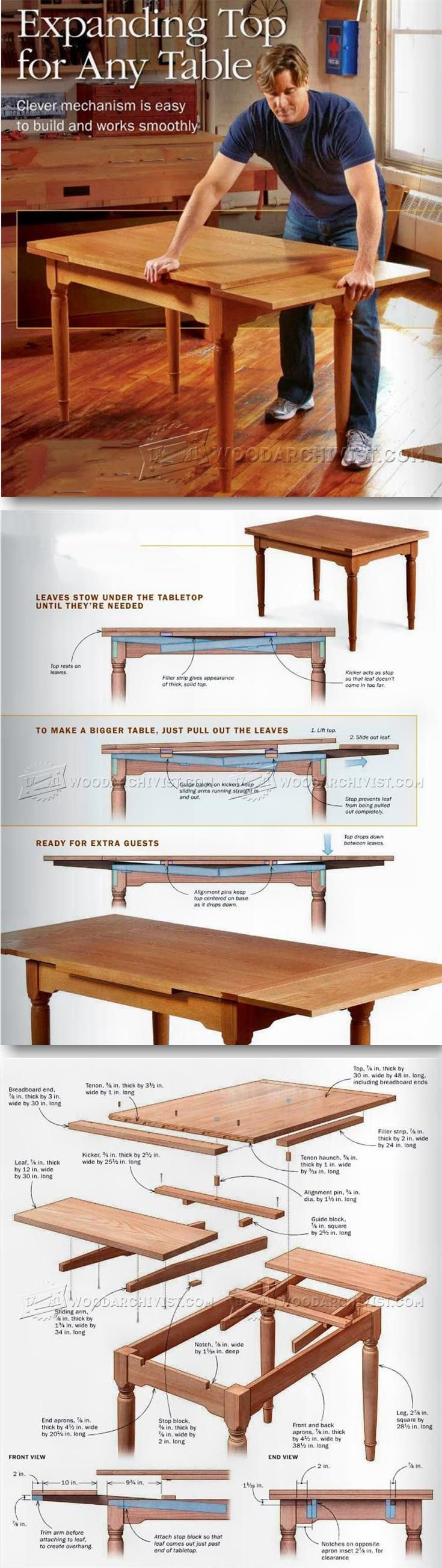 Expanding Table Plans Furniture Plans and