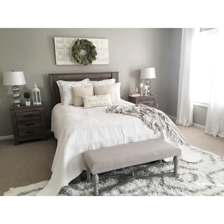 Master bedroom color/decor idea. Furniture, lighting and set up are very similar to ours. :: See this Instagram photo by @kristieh14