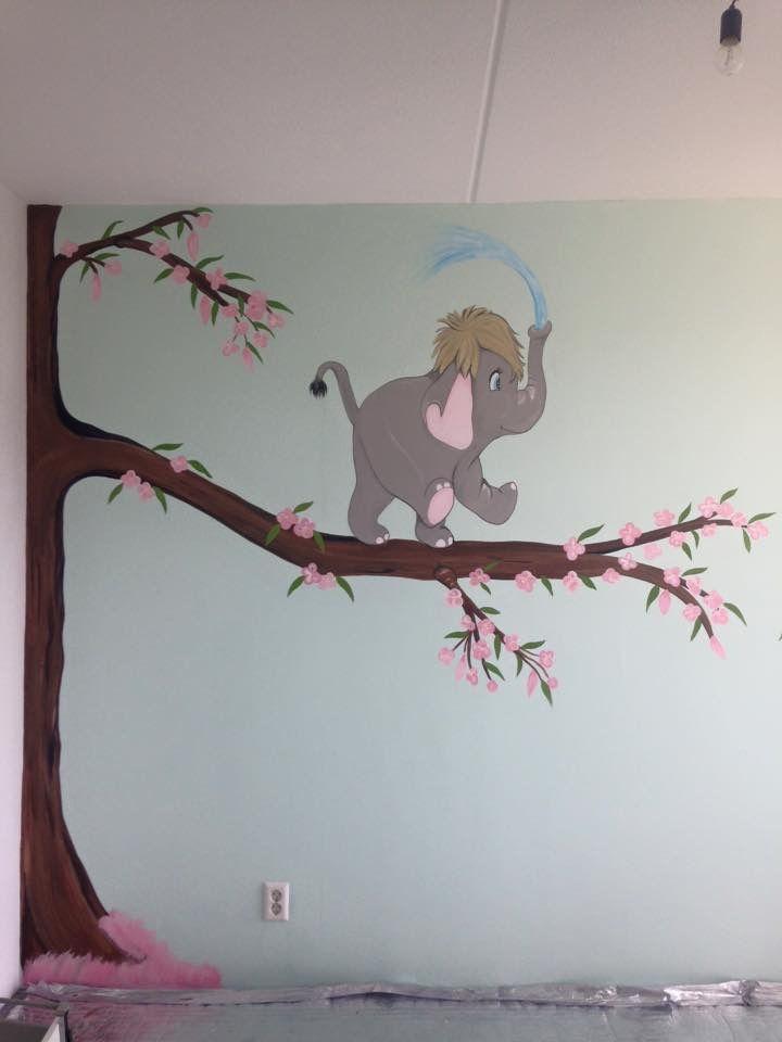 Olifant muurschildering joan of arts