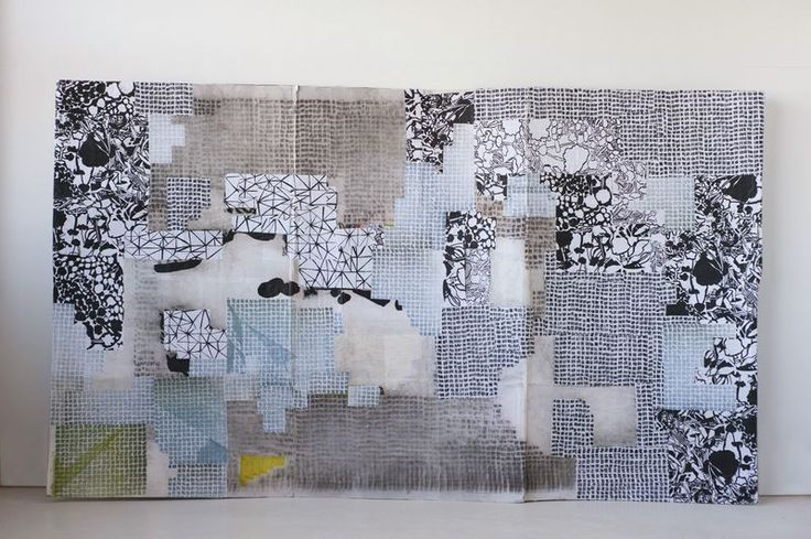 "karen gelardi, Prototype Drawing Assembly No. 1, Ink and toner on paper, tape, chipboard, tape, wheat paste, 2011. 78"" x 46""."