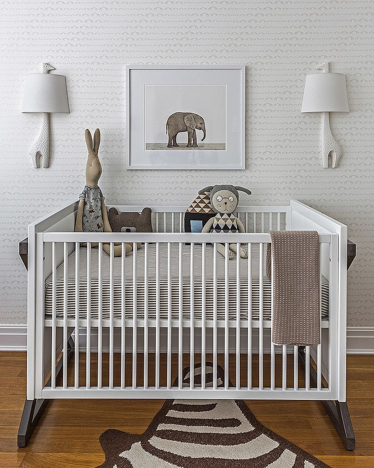 Sissy + Marley Big City Nursery with sconces and rug from Jonathan Adler, elephant print from Sharon Montrose