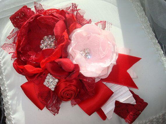 Valentine Headband Red and Pink Flower Headband by lepetitejardin, $27.95