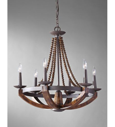 Murray Feiss Adan 6 Light Single Tier Chandelier in Rustic Iron and Burnished Wood F2749/6RI/BWD