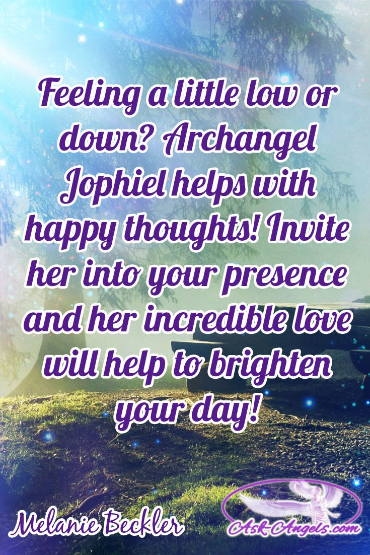 Feeling a little low or down? Archangel Jophiel helps with happy thoughts! Invite her into your presence and her incredible love will help to brighten your day!  #archangeljophiel
