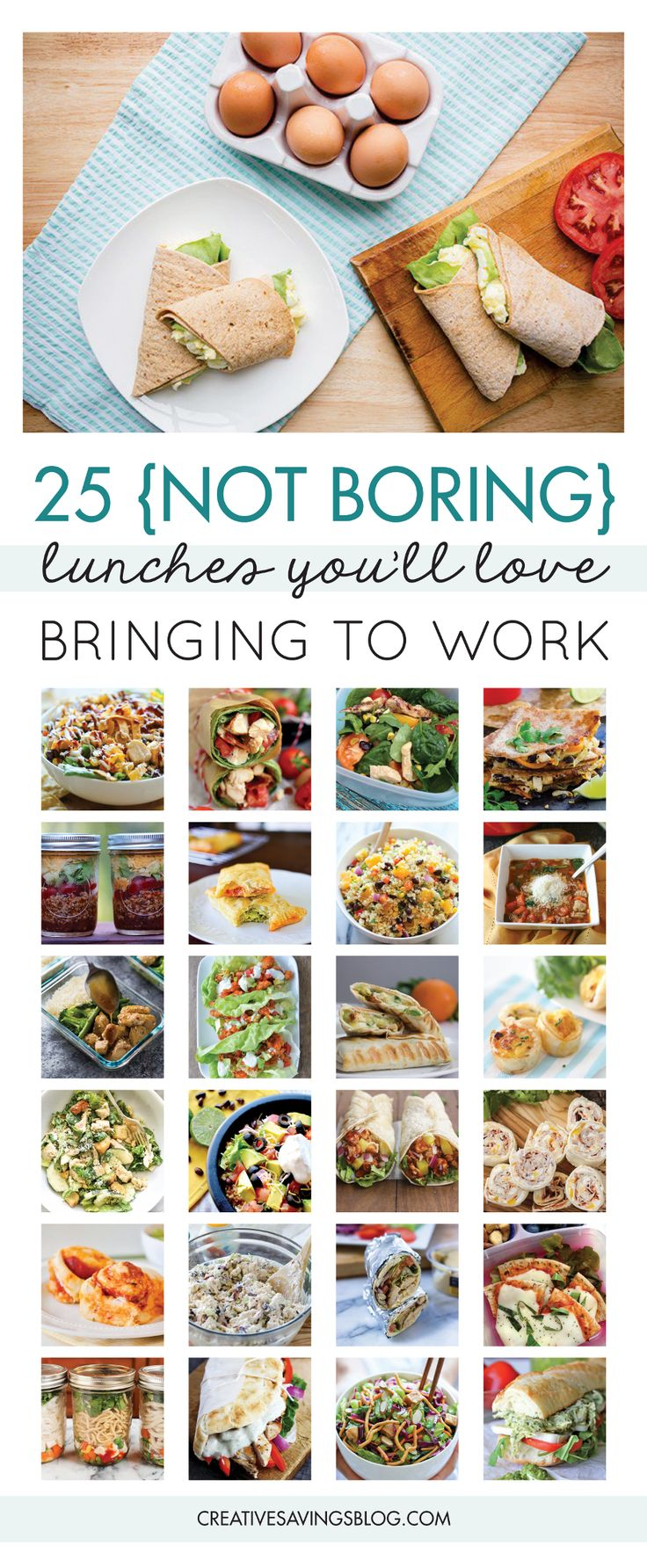 Pack your lunch. It's such a simple statement, but did you know this simple act can save you $500 or more each year?! So what's holding you back? Do you need packed lunch ideas...or more specifically work lunch ideas? These 7 creative ways to avoid the eating out trap at work, will not only save money, they'll also help jumpstart a healthy lifestyle. Let's face it—healthy work lunches make you feel 100 times better than greasy fast food ever could! via @creativesavings