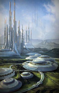 Que sont ces formes circulaires au 1er plan ? Serres hydroponiques ou stations de purification atmosphériques ?
