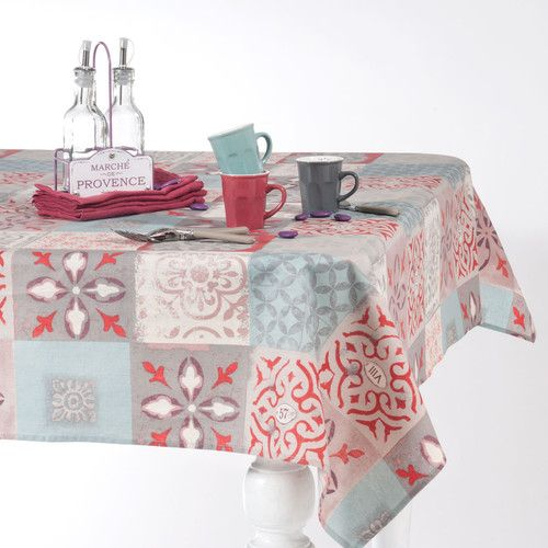 CEMENTO linen tablecloth, multicoloured 140 x 350cm
