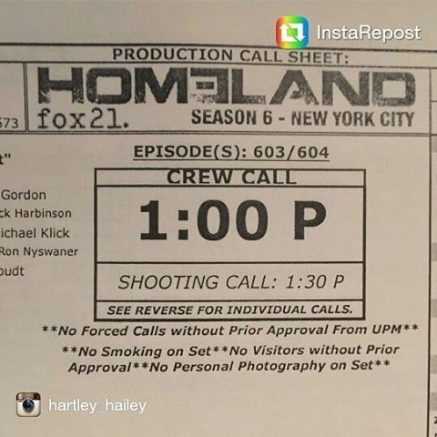 Repost @hartley_hailey  A wrap of Homeland S6 episode 3 and 4. Hartley joins Homeland cast and had a kids scene with Franny.  I can't wait to see you on tv, Hartley!  #homeland #homelands6 #hartleyhailey #frannymathison #clairedanes #carriemathison #rupertfriend #peterquinn #mandypatinkin #saulberenson #fmurrayabraham #daradal