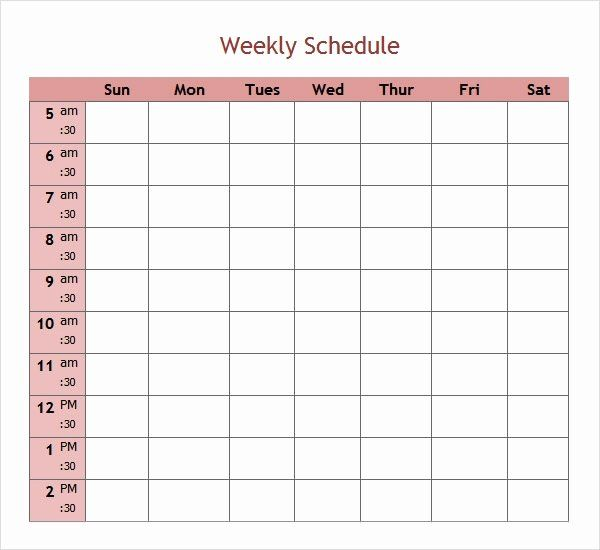 30 7 Day Work Schedule Template In 2020