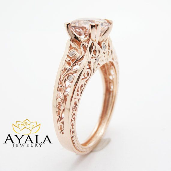 Vintage Engagement Ring 14K Rose Gold Morganite by AyalaDiamonds