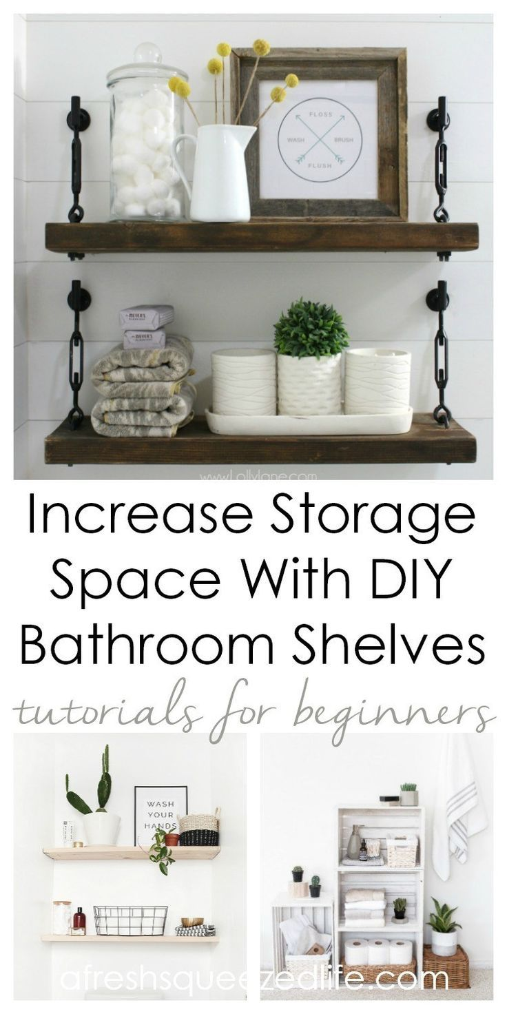 DIY Bathroom Shelves create storage above the toilet or under the sink. These bu…   – Handmade Projects