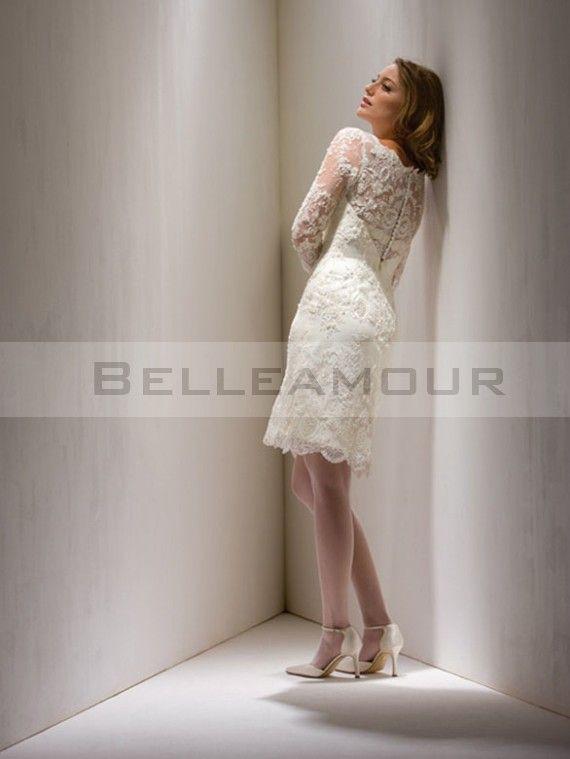 robe de mari e romantique 3 4 manches dentelle gaine genou