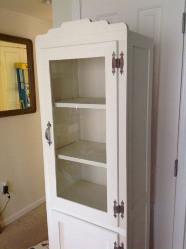 Vintage 40s Wood Kitchen Cabinet Shelves Free Standing Small Space Antique  White | EBay