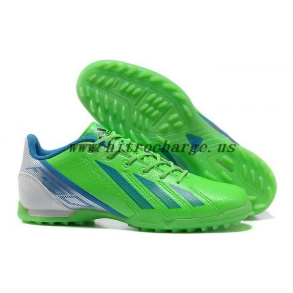Messi arrvial adidas F50 Indoor TF Football Shoes in Green/Blue 2013 Boots