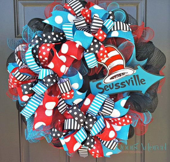 READY TO SHIP Dr. Seuss Wreath  Cat in The Hat by DoorsAdored