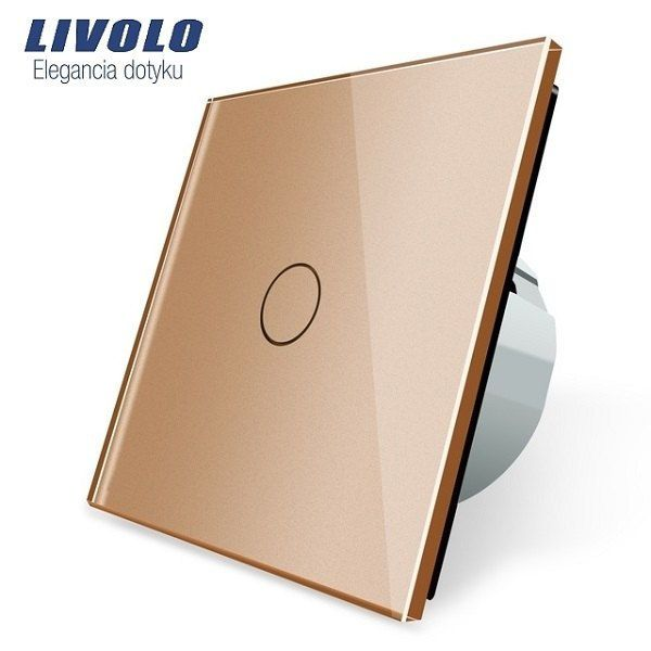 Luxusný sklenený dotykový vypínač ( Radenie 1) s dotykovou sklenenou plochou v zlatej farbe. Tento vypínač je na ovládanie jedného svetelného okruhu z jedného miesta. Vypínač môžme poznať aj pod názvom základný, jednoduchý, alebo jednotka vypínač.